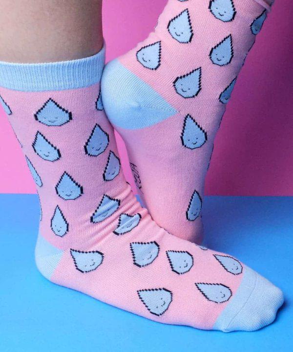 calze raindrop cotone rosa