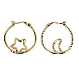 orecchini cerchio luna e stella